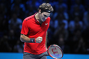 Switzerland's Roger Federer wins the 2nd set 1 set all 1-1 during the Semi Final of Barclays ATP World Tour 2014 between Switzerland's Roger Federer and Switzerland's Stan Wawrinka, O2 Arena, London, United Kingdom on 15th November 2014 © Pro Sports Images