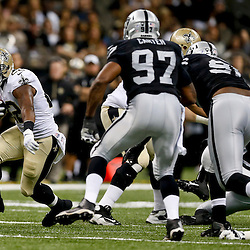 Aug 16, 2013; New Orleans, LA, USA; New Orleans Saints running back Mark Ingram (22) runs against the Oakland Raiders during the first quarter of a preseason game at the Mercedes-Benz Superdome. Mandatory Credit: Derick E. Hingle-USA TODAY Sports