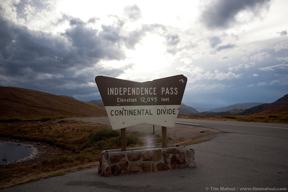 A sign marking the Continental Divide at Independece Pass Colorado