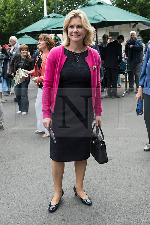 © Licensed to London News Pictures. 01/07/2016.  JUSTINE GREENING MP attends the fifth day of the WIMBLEDON Lawn Tennis Championships. London, UK. Photo credit: Ray Tang/LNP