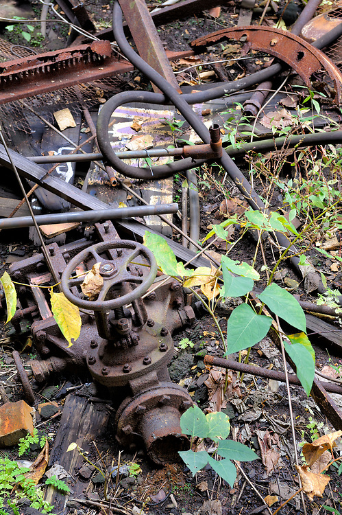 A jumbled pile twisted metal, pipes, and foliage, a view of abandoned industrial debris at Carrie Furnace outside of Pittsburgh,PA.