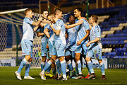 Josh Pask scores a goal to make it 2-0 to Coventry and celebrates during the The FA Cup third round replay match between Coventry City and Bristol Rovers at the Trillion Trophy Stadium, Birmingham, England on 14 January 2020.