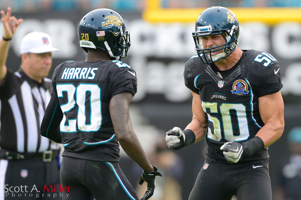 Jacksonville Jaguars outside linebacker Russell Allen (50) during an NFL game against the New York Jets at EverBank Field on Dec 9, 2012 in Jacksonville, Florida. The Jets won 17-10...©2012 Scott A. Miller..