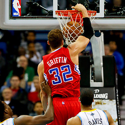 Mar 27, 2013; New Orleans, LA, USA; Los Angeles Clippers power forward Blake Griffin (32) dunks against the New Orleans Hornets during the first quarter of a game at the New Orleans Arena. Mandatory Credit: Derick E. Hingle-USA TODAY Sports