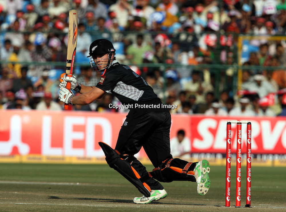New Zeland batsman Kane Williamson plays a shot against india during the 2nd ODI india vs New Zealand Played at Sawai Mansingh Stadium, Jaipur, 1 December 2010 - day/night (50-over match)