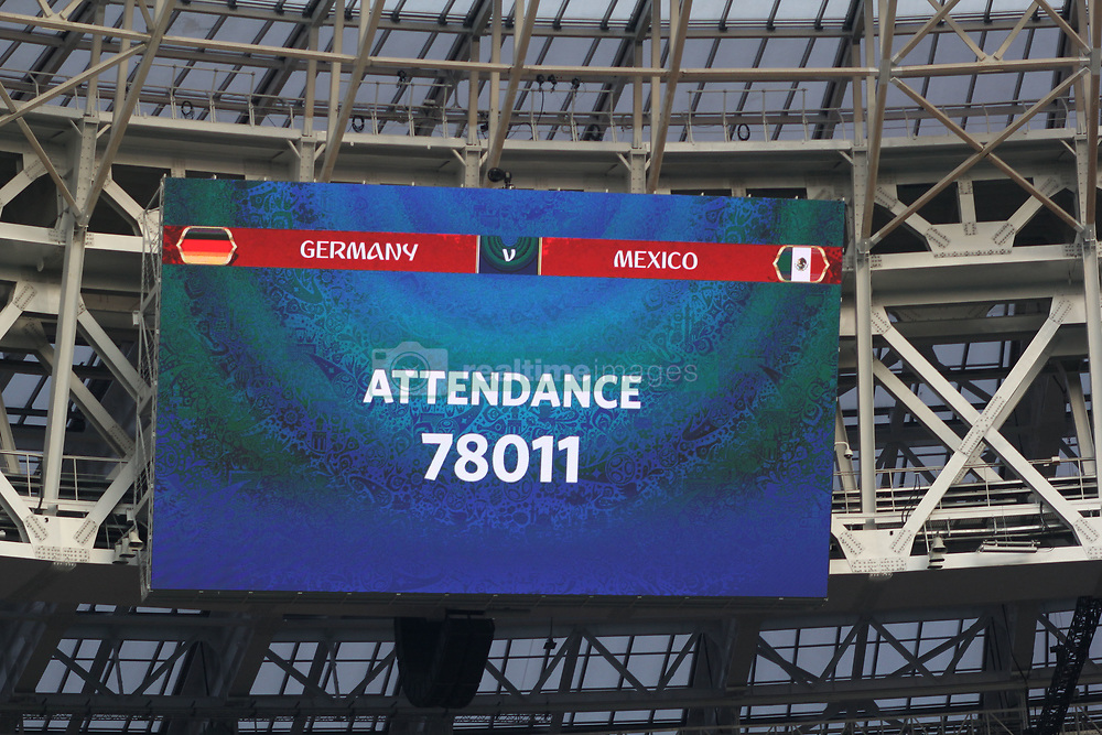 June 17, 2018 - Moscow, Russia - June 17, 2018, Russia, Moscow, FIFA World Cup, First round, Group F, Germany vs Mexico at the Luzhniki stadium. Player of the national team Main coach; trainer; viewers; fans; balkers; full house; tickets are not available; (Credit Image: © Russian Look via ZUMA Wire)