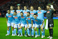 LIVERPOOL, ENGLAND - Thursday, November 4, 2010: SSC Napoli's players line-up for a team-group photograph before the UEFA Europa League Group K Matchday 4 match against Liverpool at Anfield. Back row L-R: Hugo Campangnaro, Edinson Cavani, Christian Maggio, captain Paulo Cannavaro, Salvatore Aronica, goalkeeper Morgan De Sanctis. Front row L-R: Michele Pazienza, Walter Gargano, Andrea Dossena, Ezequiel Lavezzi, Marek Hamsik. (Photo by David Rawcliffe/Propaganda)