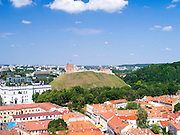 View of Gediminas Boxto/Tower from the bell tower at Vilnius University,  in Senamiestyje/Old Town, Vilnius, Lithuania