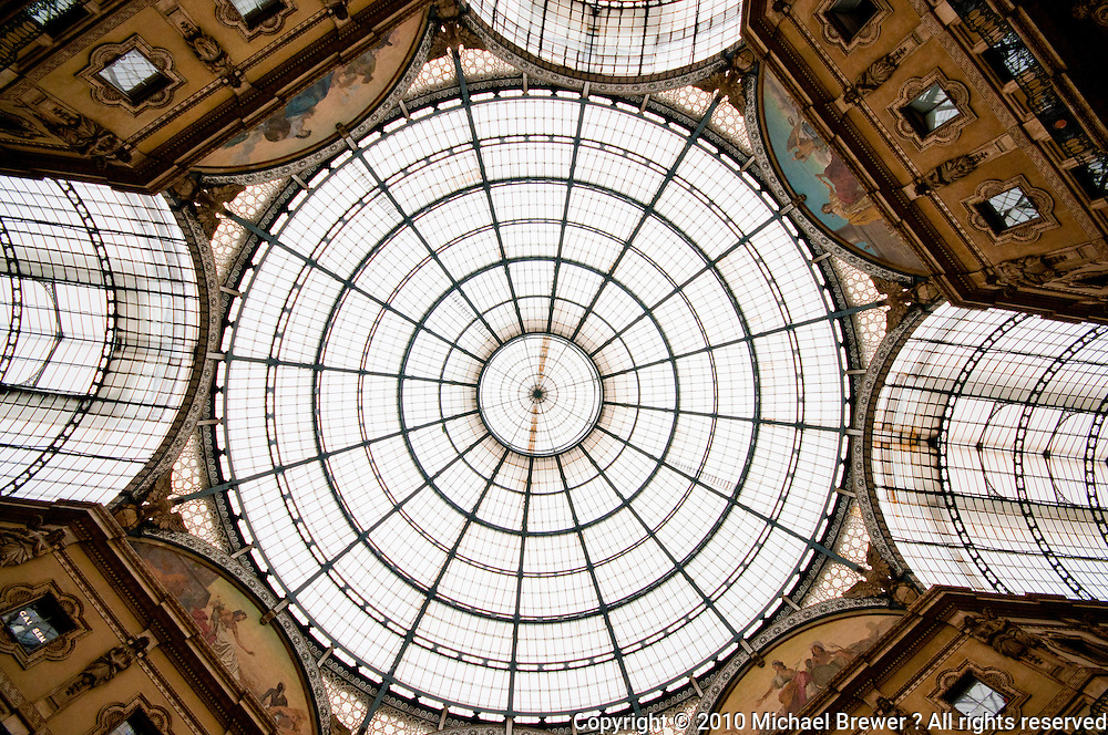 Milan, Galleria - ceiling dome.  Italy.
