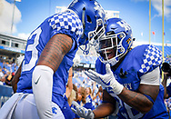Kentucky Wildcats wide receiver Zy'Aire Hughes (13) and running back Benny Snell Jr. (26) celebrate after Hughes scored a touchdown during the second half an NCAA college football game against the Murray State Racers in Lexington, Ky., Saturday, Sept. 15, 2018. (AP Photo/Bryan Woolston)