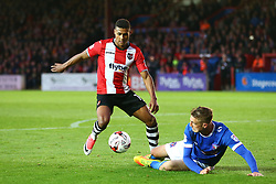 Ollie Watkins of Exeter City takes on Gary Liddle of Carlisle United - Mandatory by-line: Gary Day/JMP - 18/05/2017 - FOOTBALL - St James Park - Exeter, England - Exeter City v Carlisle United - Sky Bet League Two Play-off Semi-Final 2nd Leg