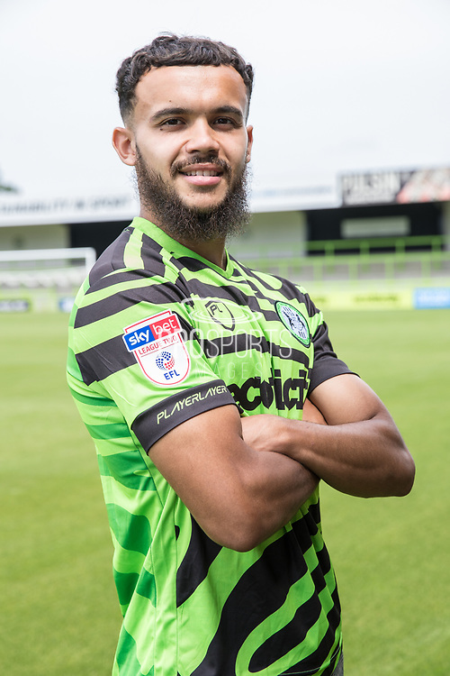 Dominic Bernard signs a contract with Forest Green Rovers at the New Lawn, Forest Green, United Kingdom on 17 July 2019.