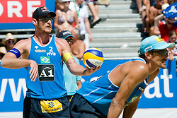 Alison Conte Cerutti and Emanuel Rego of Brazil at A1 Beach Volleyball Grand Slam tournament of Swatch FIVB World Tour 2010, bronze medal, on August 1, 2010 in Klagenfurt, Austria. (Photo by Matic Klansek Velej / Sportida)