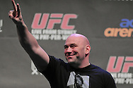 "SYDNEY, AUSTRALIA, FEBRUARY 26, 2011: UFC president Dana White salutes the crowd during the weigh-in for ""UFC 127: Penn vs. Fitch"" inside Acer Arena in Sydney, Australia on February 26, 2011"