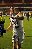Photo: Tony Oudot/Richard Lane Photography. Walsall v Milwall. Coca-Cola Football League One. 13/12/2008. <br /> Neil Harris of Millwall celebrates at the end of the match after breaking the clubs goal scoring record by throwing his shirt to the fans
