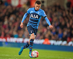 STOKE-ON-TRENT, ENGLAND - Monday, April 18, 2016: Tottenham Hotspur's Dele Alli scores the second goal against Stoke City Stoke City during the FA Premier League match at the Britannia Stadium. (Pic by David Rawcliffe/Propaganda)