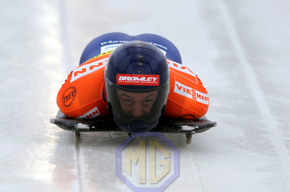 14 December 2007:  Kristan Bromley of Great Britain competes at the FIBT World Cup Men's skeleton competition on December 14, 2007 at the Olympic Sports Complex in Lake Placid, NY.  Bromley finished in fifth place in the the race won by Eric Bernotas of the United States.