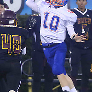 Delmar quarterback JACOB VONARX (10) throws the ball off his back leg during the 2017 DIAA Division II state championship game between the Delmar and Milford Saturday, Dec. 02, 2017 at Delaware Stadium in Newark, DE.