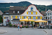 Hotel Cafe Adler, family-run since 1820, in Appenzell village, in Switzerland, Europe. Appenzell Innerrhoden is Switzerland's most traditional and smallest-population canton (second smallest by area).