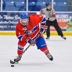 OAKVILLE, ON  - FEB 23,  2018: Ontario Junior Hockey League game between the Oakville Blades and the Toronto Jr. Canadiens, Anthony Paveglio #7 of the Toronto Jr. Canadiens skates with the puck during the third period.<br /> (Photo by Ryan McCullough / OJHL Images)