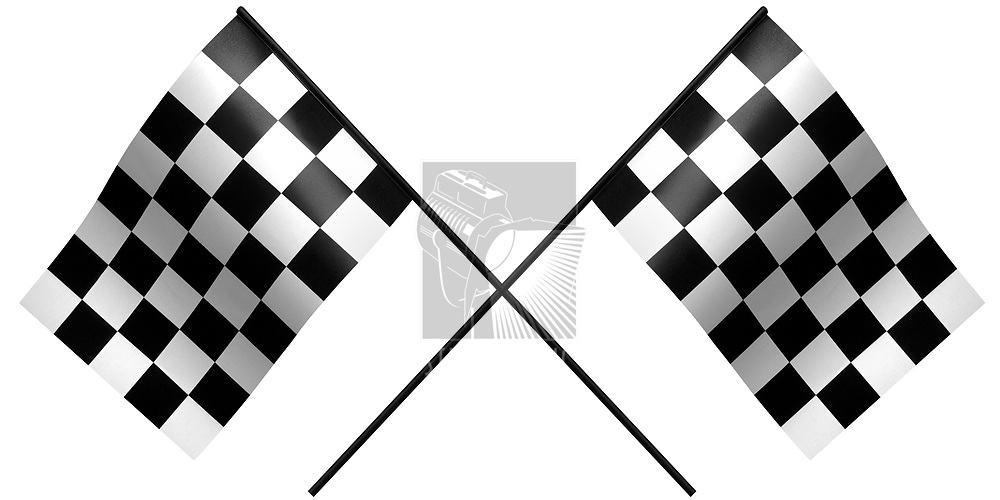 single checkered flag on white