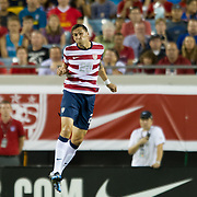 May 26 2012: USA's Geoff Cameron (20) leaps into the air to head the ball during the first half of play of the U.S. Men's National Soccer Team game against Scotland at Everbank Field in Jacksonville, FL. At halftime USA lead Scotland 2-1.