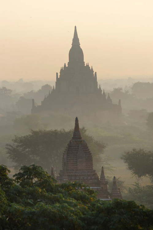 Temples in Bagan Myanmar sunrise