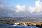 BORTH, WALES, UK 16TH MARCH 2020 - View over Borth,and Ynyslas coastal villages, County of Ceredigion, Mid Wales, UK.