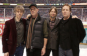 VANCOUVER, BC - MARCH 2: (L-R) Craig Northey, Pat Steward, Murray Atkinson and Doug Elliott of the music group The Odds pose after performing during the second intermission of the 2014 Tim Hortons Heritage Classic game between the Ottawa Senators and the Vancouver Canucks at BC Place on March 2, 2014 in Vancouver, B.C., Canada.  (Photo by Kevin Light/NHLI via Getty Images)