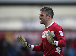 Matthew Gilks of Wigan Athletic gestures to the Blackburn Rovers fans as they shout abuse at him - Mandatory by-line: Jack Phillips/JMP - 04/03/2017 - FOOTBALL - Ewood Park - Blackburn, England - Blackburn Rovers v Wigan Athletic - Football League Championship