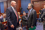 Bill Barone, Glioblastoma survivor, speaks with David Arons, right, during a National Brain Tumor Society congressional briefing event at the U.S. Capitol Building visitors center on May 15, 2018. (Photo by Alan Lessig)