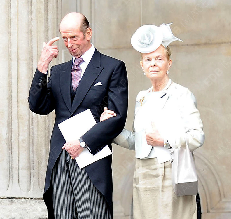 05.JUNE.2012. LONDON<br /> <br /> DUKE AND DUCHESS OF KENT LEAVING THE SERVICE OF THANKSGIVING AS PART OF THE QUEEN'S DIAMOND JUBILEE CELEBRATIONS AT ST PAUL'S CATHEDRAL IN LONDON<br /> <br /> BYLINE: EDBIMAGEARCHIVE.CO.UK<br /> <br /> *THIS IMAGE IS STRICTLY FOR UK NEWSPAPERS AND MAGAZINES ONLY*<br /> *FOR WORLD WIDE SALES AND WEB USE PLEASE CONTACT EDBIMAGEARCHIVE - 0208 954 5968*