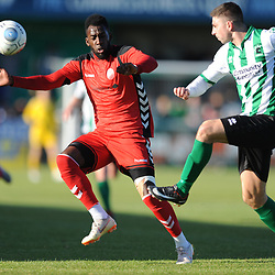 TELFORD COPYRIGHT MIKE SHERIDAN 29/9/2018 - Amari Morgan-Smith of AFC Telford closes down Ian Watson of Blyth during the Conference North fixture between Blyth Spartans and AFC Telford United at Croft Park, Blyth.