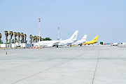 Israel, Ben-Gurion international Airport aeroplanes parked on the Tarmac
