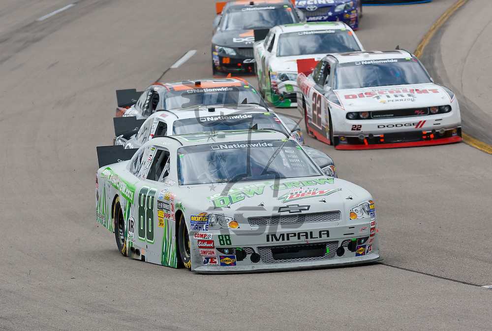 NEWTON, IA - MAY 20, 2012:  The NASCAR Nationwide teams take to the track for the Pioneer Hi-Bred 250 at the Iowa Speedway in Newton, IA.