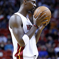 17 January 2012:  Miami Heat power forward Chris Bosh (1) is seen during the Miami Heat 120-98 victory over the San Antonio Spurs at the AmericanAirlines Arena, Miami, Florida, USA.