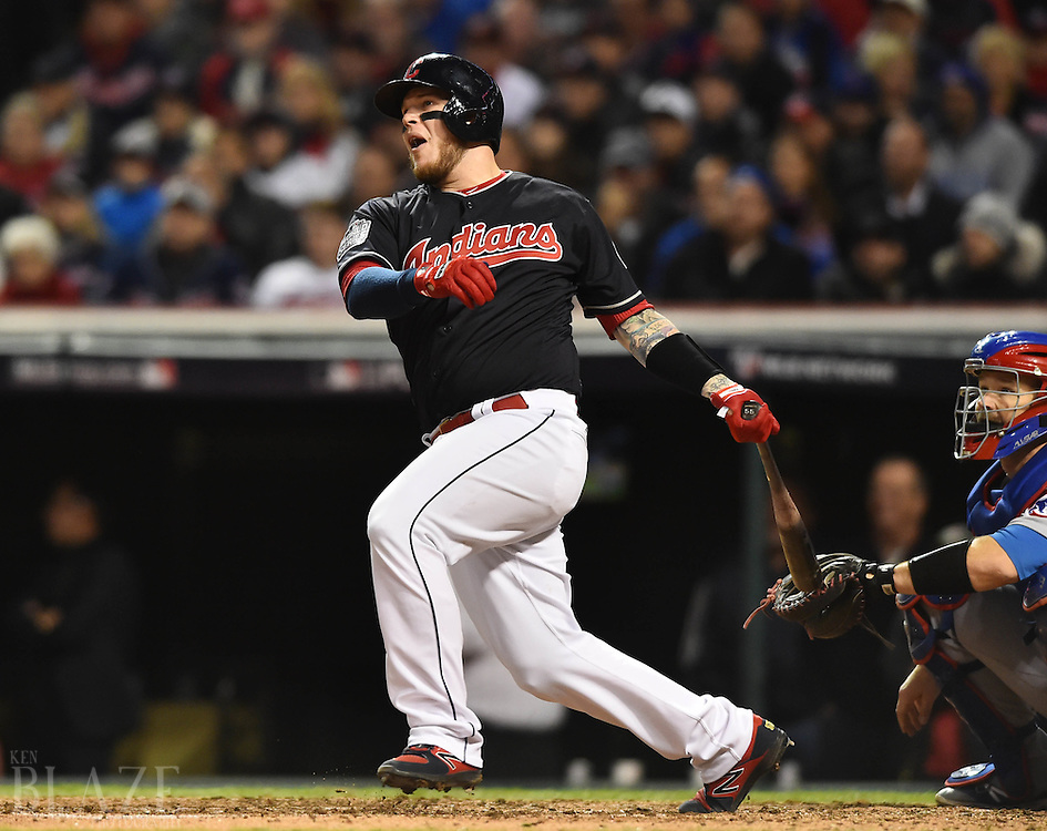 Oct 25, 2016; Cleveland, OH, USA; Cleveland Indians catcher Roberto Perez hits a solo home run against the Chicago Cubs in the fourth inning in game one of the 2016 World Series at Progressive Field. Mandatory Credit: Ken Blaze-USA TODAY Sports