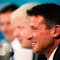 London, UK - 13 August 2012: LOCOG Chair, Sebastian Coe, during the final press conference of the Olympic Games to discuss the success of London 2012.
