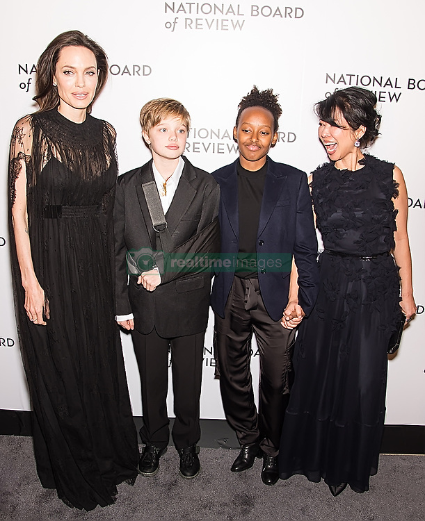 Angelina Jolie, Shiloh Jolie-Pitt, Zahara Jolie-Pitt, and Cambodian-born American human-rights activist Loung Ung attend the 2018 National Board Of Review Awards Gala at Cipriani 42nd Street in New York City. 09 Jan 2018 Pictured: Angelina Jolie, Shiloh Jolie-Pitt, Zahara Jolie-Pitt, Loung Ung. Photo credit: MEGA TheMegaAgency.com +1 888 505 6342