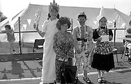 Fancy dress 8 to 14 l to r: 3rd Joanne Garrity, Grimethorpe; 1st Stephen Harman, Wistow; Marie Bailey, Maltby; 2nd Claire Hawcroft, Houghton. 1992 Yorkshire Miners Gala, Barnsley.