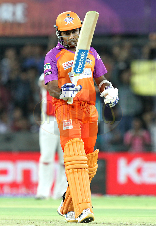 M. Jayawardene raises his bat on compleating 50 runs during match 57 of the Indian Premier League ( IPL ) Season 4 between the Kochi Tuskers Kerala and the Kings XI Punjab held at the Holkar Stadium in Indore, Madhya Pradesh, India on the 13th May  2011..Photo by Prashant Bhoot/BCCI/SPORTZPICS