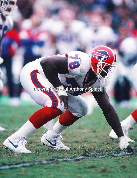 Buffalo Bills defensive end Bruce Smith (78) gets set in a three point stance during the NFL football game against the Los Angeles Raiders on Dec. 8, 1991 in Los Angeles. The Bills won the game 30-27 in overtime. (©Paul Anthony Spinelli)