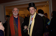 John Fitzherbert in top hat.<br />, David Hockney exhibition opening, Annely Juda Gallery. 15 January 2003. © Copyright Photograph by Dafydd Jones 66 Stockwell Park Rd. London SW9 0DA Tel 020 7733 0108 www.dafjones.com
