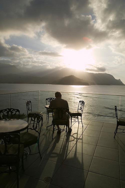Sunset at the bar at the Princeville Resort, Kauai, Hawaii