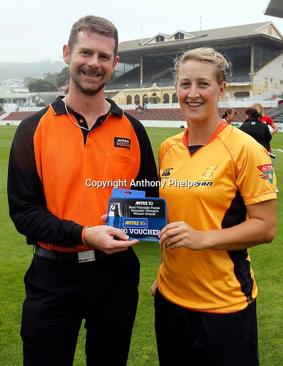 Sophie Devine Mitre 10 Mega MVP, Action Cricket Twenty20 Final, Blaze v Magicians. Basin Reserve, Wellington. Saturday 5 February 2011. Photo: Anthony Phelps/PHOTOSPORT