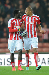Stoke's Steven N'Zonzi celebrates his goal with Stoke's Mame Biram Diouf - Photo mandatory by-line: Dougie Allward/JMP - Mobile: 07966 386802 - 29/10/2014 - SPORT - Football - Stoke - Britannia Stadium - Stoke City v Southampton - Capital One Cup - Fourth Round