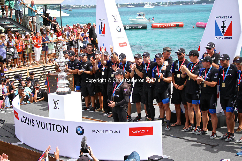 Skipper Glenn Ashby speaks as Emirates Team NZ wins the  America's Cup 2017, June 26, 2017 - Great Sound Bermuda. Photo: Richard Gladwell / www.photosport.nz