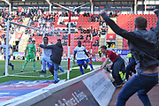 Tranmere Rovers player Stefan Payne (45) celebrates scoring goal to go 1-1 during the EFL Sky Bet League 1 match between Rotherham United and Tranmere Rovers at the AESSEAL New York Stadium, Rotherham, England on 31 August 2019.