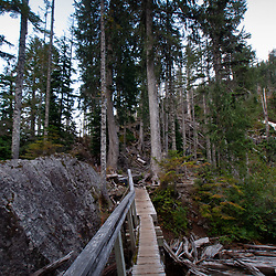 Wooden Footbridge Over Bridal Veil Creek at Outlet of Lake Serene, Mt. Baker-Snoqualmie National Forest, Washington, US