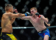 Danny Henry (Blue shorts) in action against Daniel Teymur in their lightweight bout during the UFC Fight Night at the SSE Hyrdo, Glasgow.